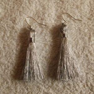 Shimmery Silvertone Tassel Earrings